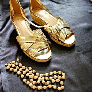 Golden Strappy Wedges